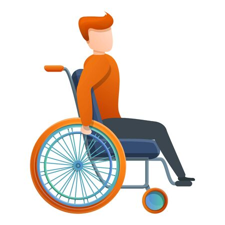 Red hair boy in wheelchair icon. Cartoon of red hair boy in wheelchair vector icon for web design isolated on white background