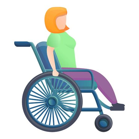 Girl in wheelchair icon. Cartoon of girl in wheelchair vector icon for web design isolated on white background Illustration