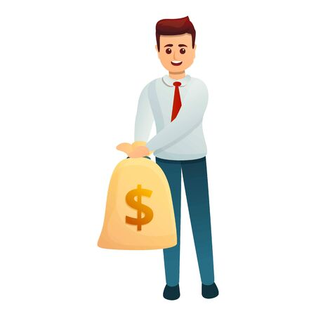Bank worker money bag icon. Cartoon of bank worker money bag vector icon for web design isolated on white background 일러스트