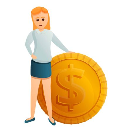 Woman near dollar coin icon. Cartoon of woman near dollar coin vector icon for web design isolated on white background