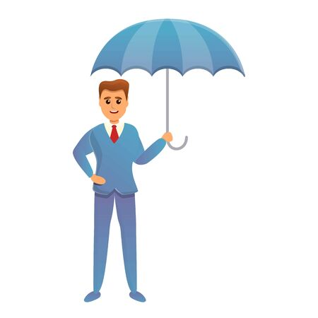Insurance agent with umbrella icon. Cartoon of insurance agent with umbrella vector icon for web design isolated on white background