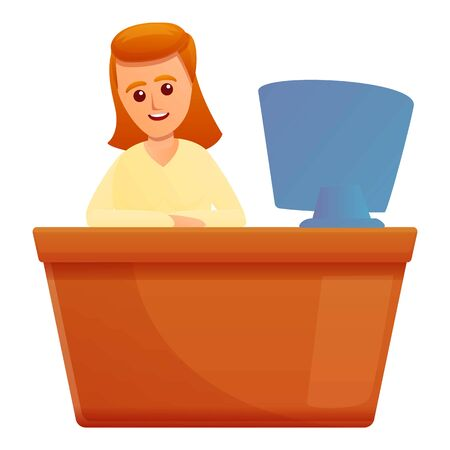 Woman desktop insurance icon. Cartoon of woman desktop insurance vector icon for web design isolated on white background 向量圖像