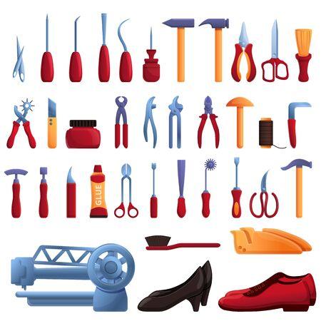 Shoe repair icons set. Cartoon set of Shoe repair vector icons for web design