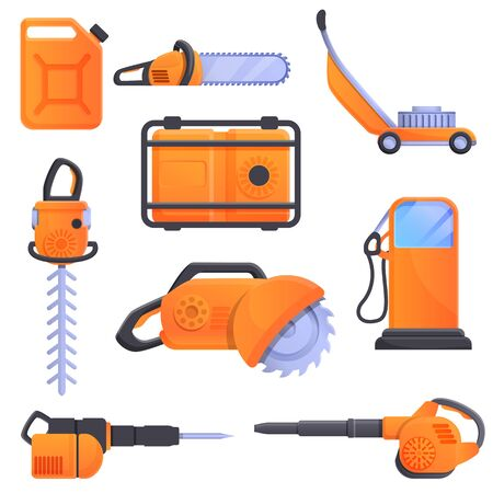 Gasoline tools icons set. Cartoon set of gasoline tools vector icons for web design
