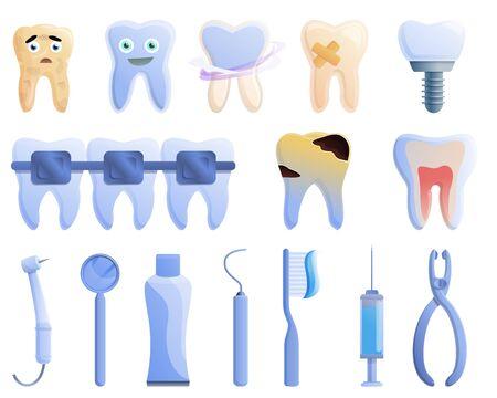 Tooth restoration icons set. Cartoon set of tooth restoration vector icons for web design 向量圖像