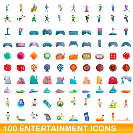 100 entertainment icons set. Cartoon illustration of 100 entertainment icons vector set isolated on white background