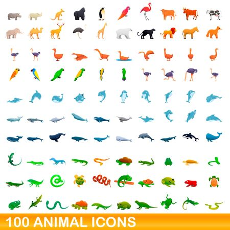100 animal icons set. Cartoon illustration of 100 animal icons vector set isolated on white background 일러스트