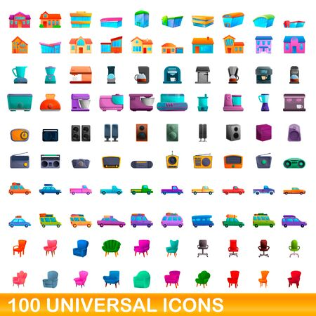 100 universal icons set. Cartoon illustration of 100 universal icons vector set isolated on white background Foto de archivo - 138469803