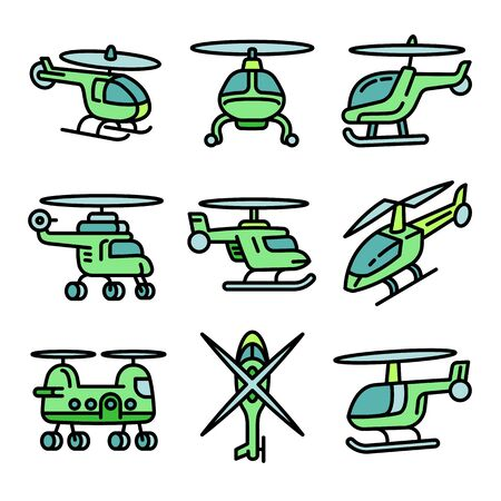 Helicopter icons set. Outline set of helicopter vector icons for web design isolated on white background