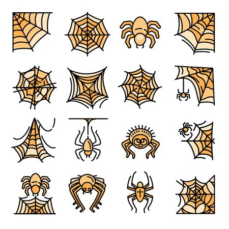 Spider icons set. Outline set of spider vector icons for web design isolated on white background