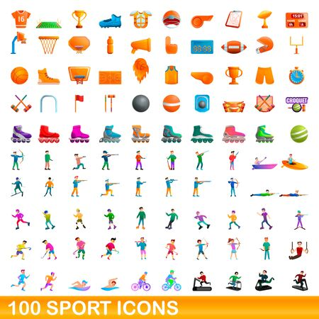 100 sport icons set. Cartoon illustration of 100 sport icons vector set isolated on white background 일러스트