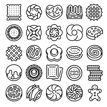 Biscuit icons set. Outline set of biscuit vector icons for web design isolated on white background