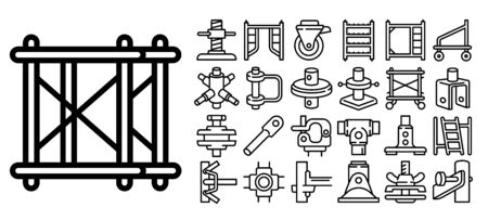 Scaffolding icons set. Outline set of scaffolding vector icons for web design isolated on white background