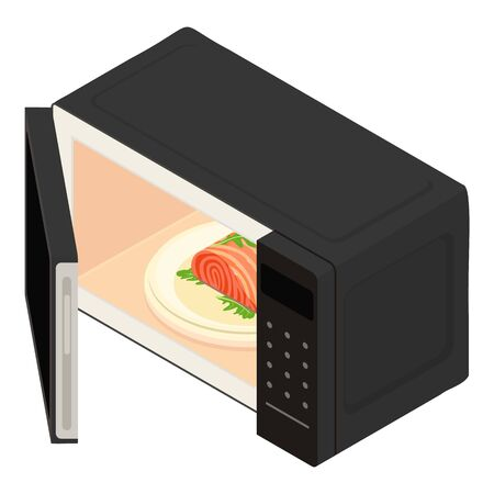 Open microwave icon. Isometric of open microwave vector icon for web design isolated on white background 向量圖像