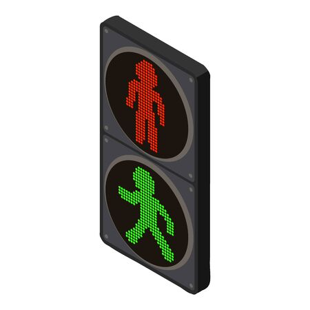 Pedestrian traffic lights icon. Isometric of pedestrian traffic lights vector icon for web design isolated on white background