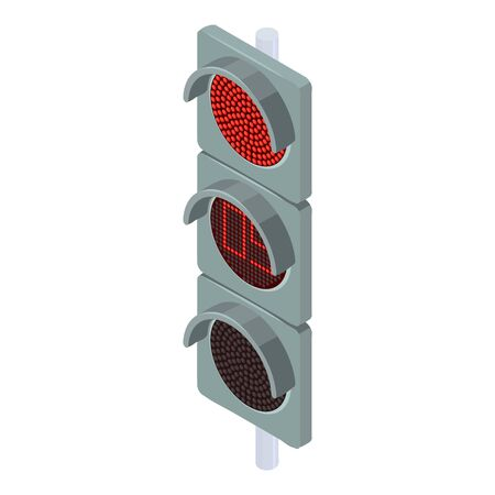 Red traffic lights icon. Isometric of red traffic lights vector icon for web design isolated on white background 向量圖像