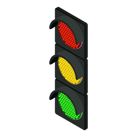 Traffic lights icon. Isometric of traffic lights vector icon for web design isolated on white background