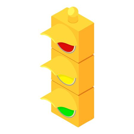 Yellow traffic lights icon. Isometric of yellow traffic lights vector icon for web design isolated on white background
