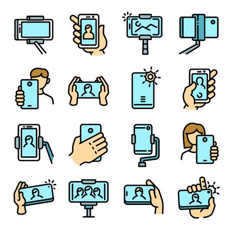 Selfie icons set. Outline set of selfie vector icons for web design isolated on white background