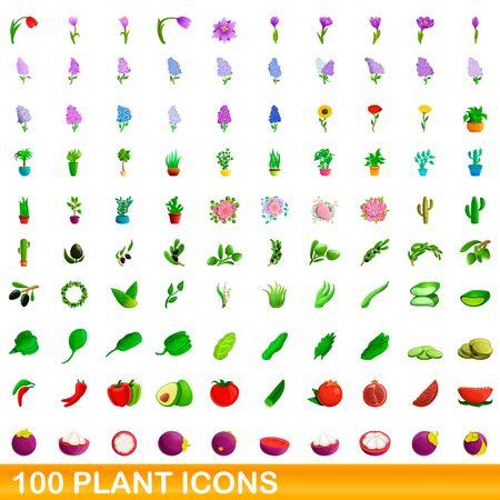 100 plant icons set. Cartoon illustration of 100 plant icons vector set isolated on white background 向量圖像