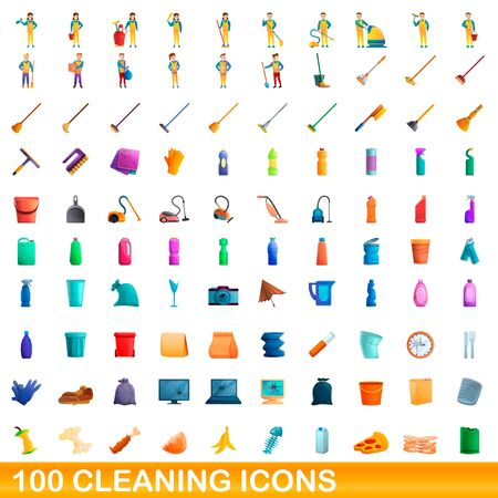 100 cleaning icons set. Cartoon illustration of 100 cleaning icons vector set isolated on white background 向量圖像