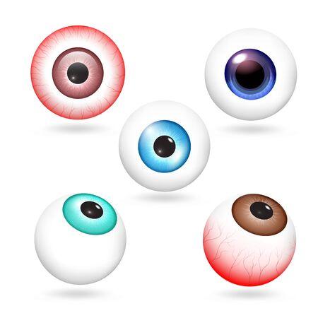 Eyeball icons set. Realistic set of eyeball vector icons for web design isolated on white background