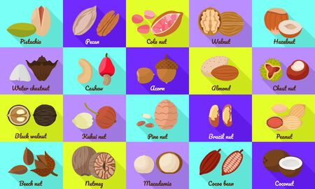 Nut icons set. Flat set of nut vector icons for web design