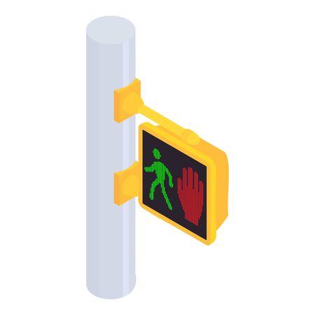 Pedestrian pillar traffic lights icon. Isometric of pedestrian pillar traffic lights vector icon for web design isolated on white background Illustration