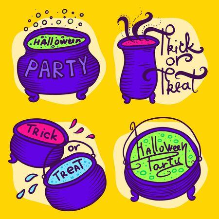 Cauldron icons set. Hand drawn set of cauldron vector icons for web design
