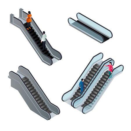 Escalator icons set. Isometric set of escalator vector icons for web design isolated on white background Illusztráció