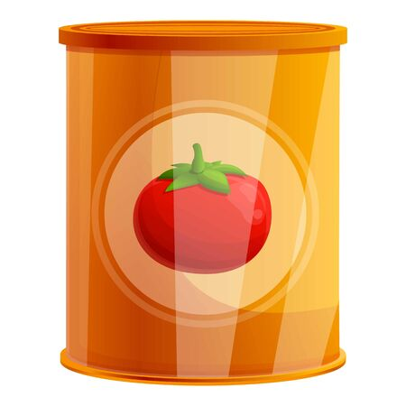 Tomato tin can icon. Cartoon of tomato tin can vector icon for web design isolated on white background