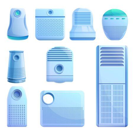 Conjunto de iconos de purificador de aire. Conjunto de dibujos animados de iconos de vector de purificador de aire para diseño web