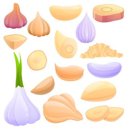 Garlic icons set. Cartoon set of garlic vector icons for web design 版權商用圖片 - 139334067