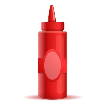 Ketchup plastic bottle icon. Cartoon of ketchup plastic bottle vector icon for web design isolated on white background