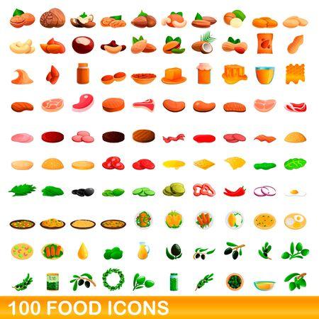 100 food icons set. Cartoon illustration of 100 food icons vector set isolated on white background Stock Illustratie