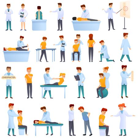 Chiropractor icons set. Cartoon set of chiropractor vector icons for web design