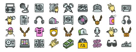 Hiphop icons set. Outline set of hiphop vector icons for web design isolated on white background Illustration