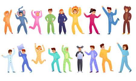 Pajama party icons set. Cartoon set of pajama party vector icons for web design