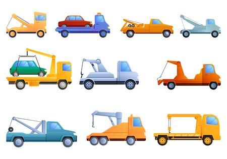 Tow truck icons set. Cartoon set of tow truck vector icons for web design Vektorgrafik