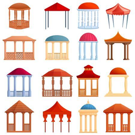 Gazebo icons set. Cartoon set of gazebo vector icons for web design