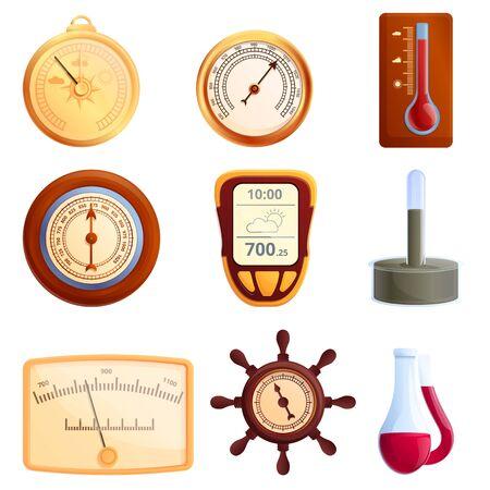 Barometer icons set. Cartoon set of barometer vector icons for web design 向量圖像