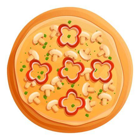Vegetarian mushroom pizza icon. Cartoon of vegetarian mushroom pizza vector icon for web design isolated on white background