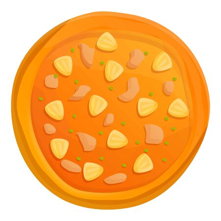 Four cheeses pizza icon. Cartoon of four cheeses pizza vector icon for web design isolated on white background  イラスト・ベクター素材