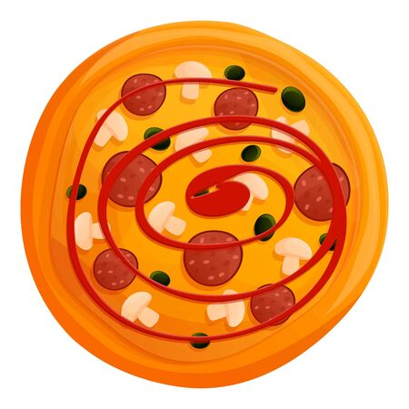 Ketchup pizza icon. Cartoon of ketchup pizza vector icon for web design isolated on white background 向量圖像