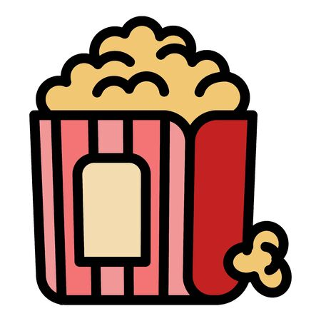 Popcorn bag icon. Outline popcorn bag vector icon for web design isolated on white background