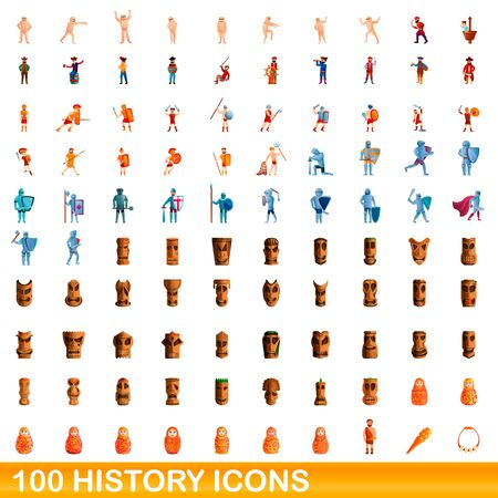 100 history icons set. Cartoon illustration of 100 history icons vector set isolated on white background Illustration