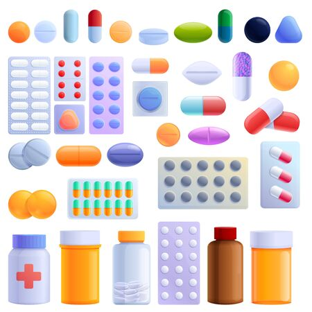 Pill icons set. Cartoon set of pill vector icons for web design