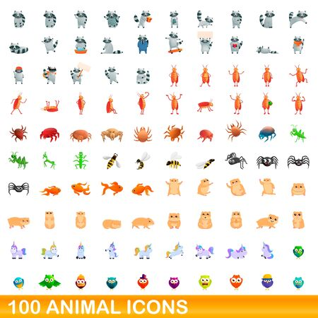 100 animal icons set. Cartoon illustration of 100 animal icons vector set isolated on white background Ilustrace