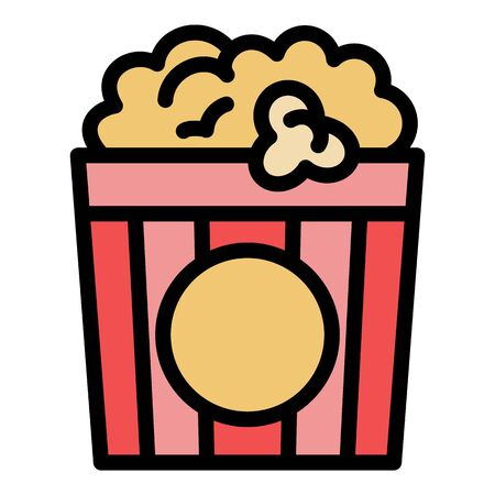 Popcorn bucket icon. Outline popcorn bucket vector icon for web design isolated on white background