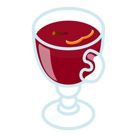 Mulled wine icon. Isometric of mulled wine vector icon for web design isolated on white background Ilustração